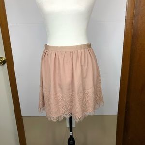 Forever 21 Pink Mini Skirt W/ Lace Sz S